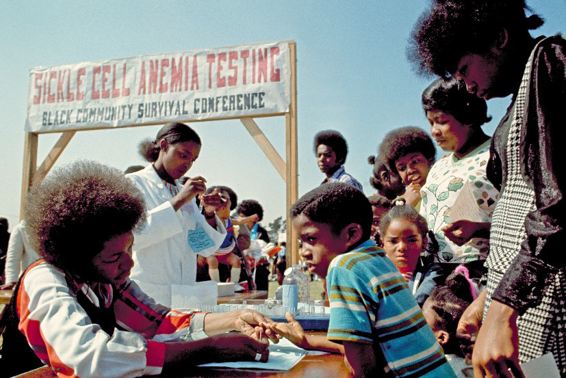 Sickle cell anemia testing at the 1972 Black Community Survival Conference.