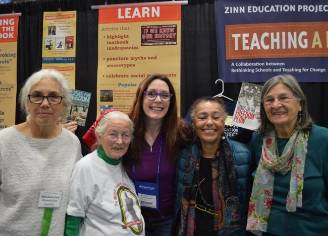 Myla Kabat-Zinn, Joan Trumpauer Mulholland, Laurie Halse Anderson, Judy Richardson, and Betty Garman Robinson at NCSS 2016 | Zinn Education Project: Teaching People's History