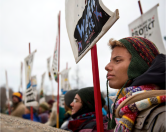 Line of demonstrators at Standing Rock. Image: Barbara Miner | Zinn Education Project: Teaching People's History