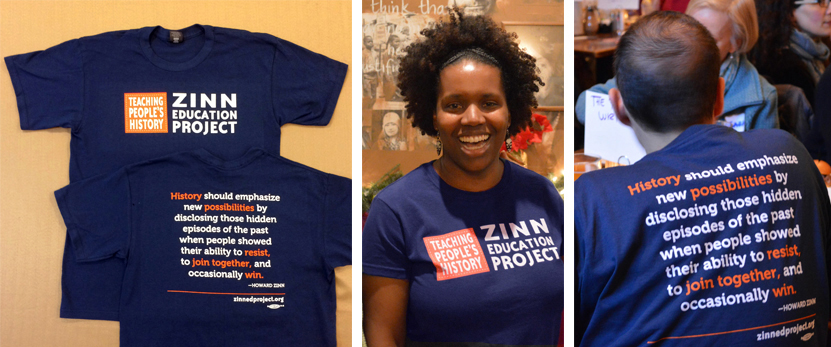 Zinn Education Project T-shirt: front and back views