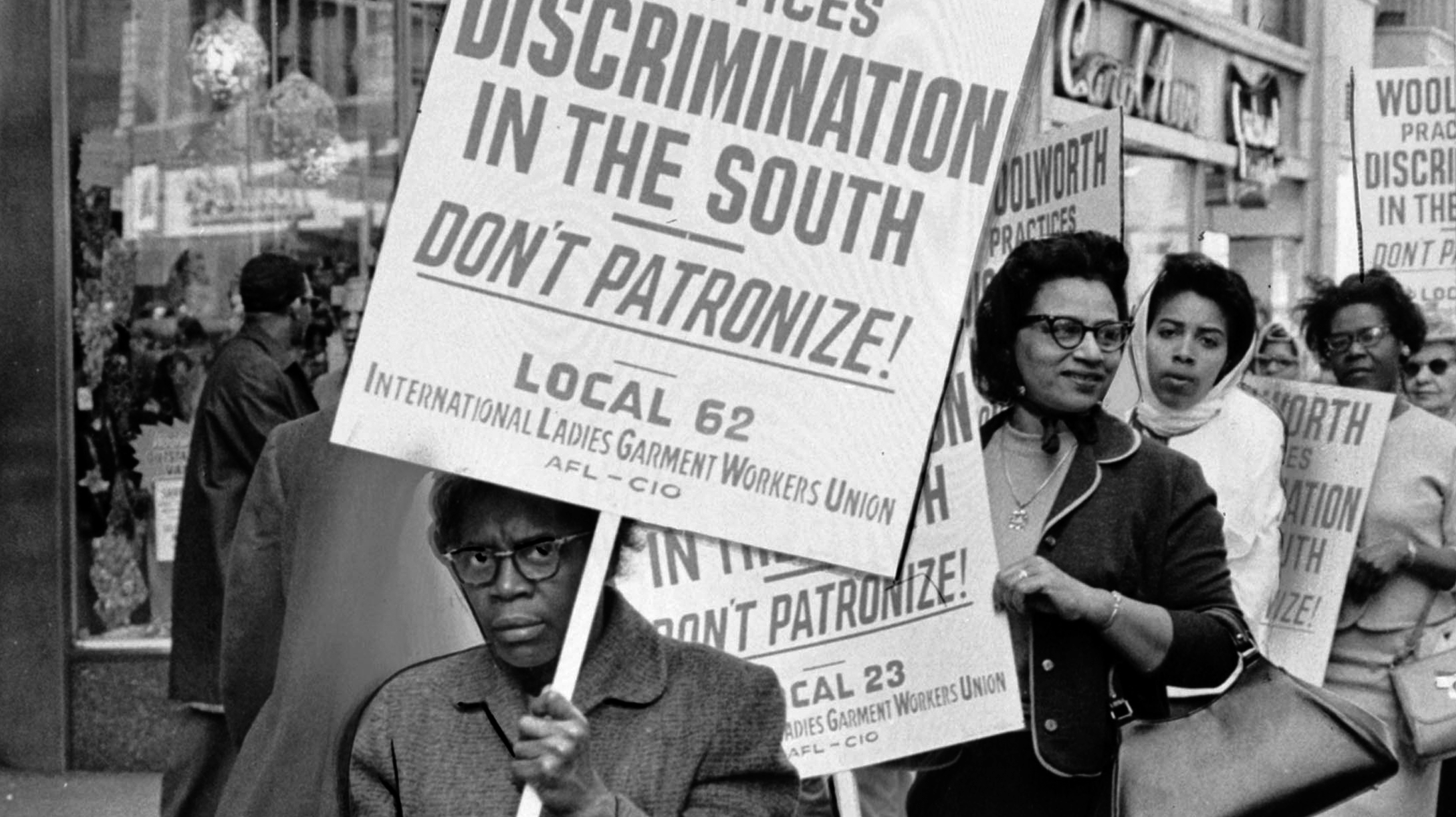 Picket against the Woolworth Company's practice of segregation, April 20, 1963. Image: Kheel Center/Cornell University.