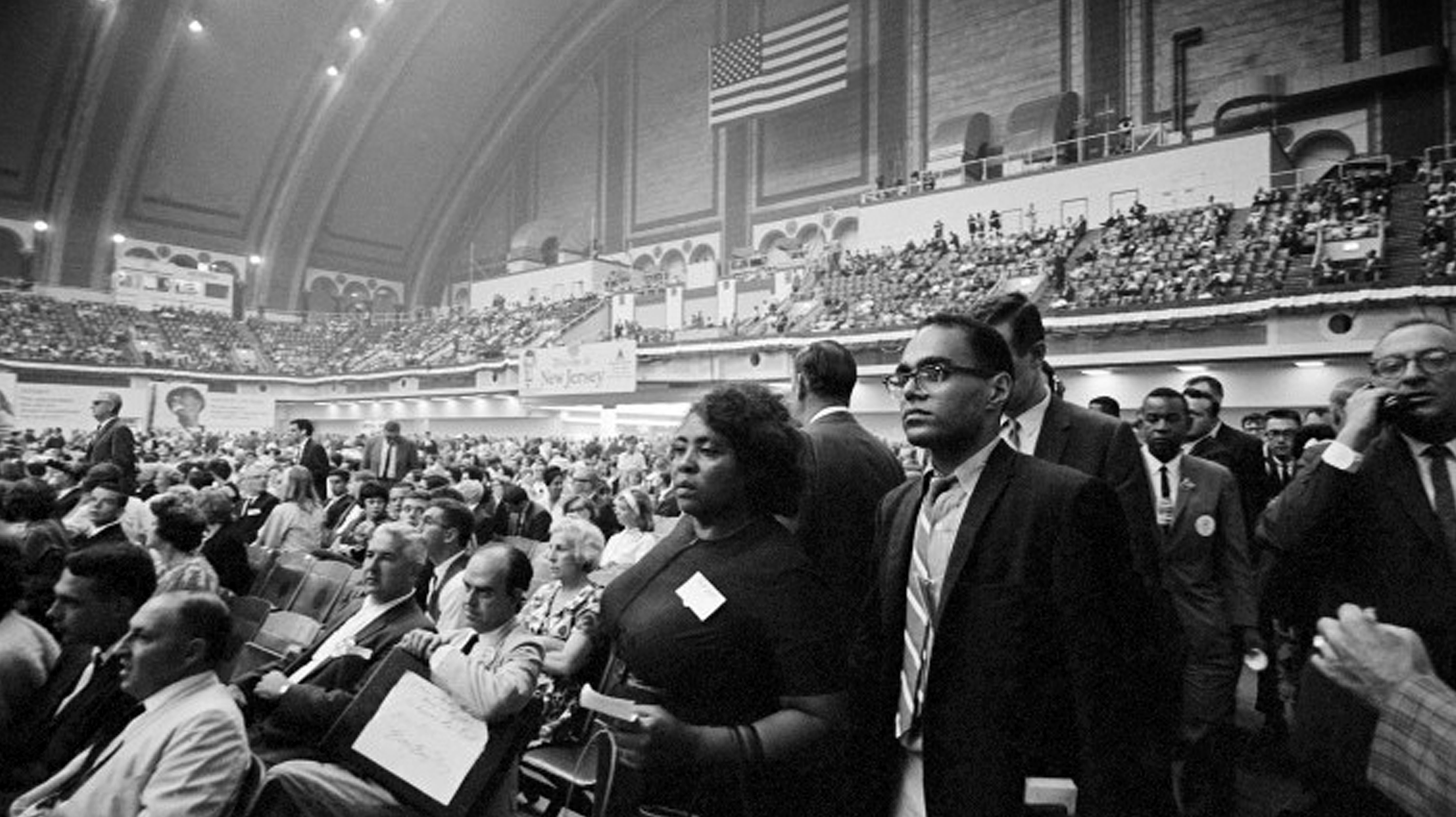 Fannie Lou Hamer and Bob Moses at the 1964 Democratic National Convention. Image: Take Stock.