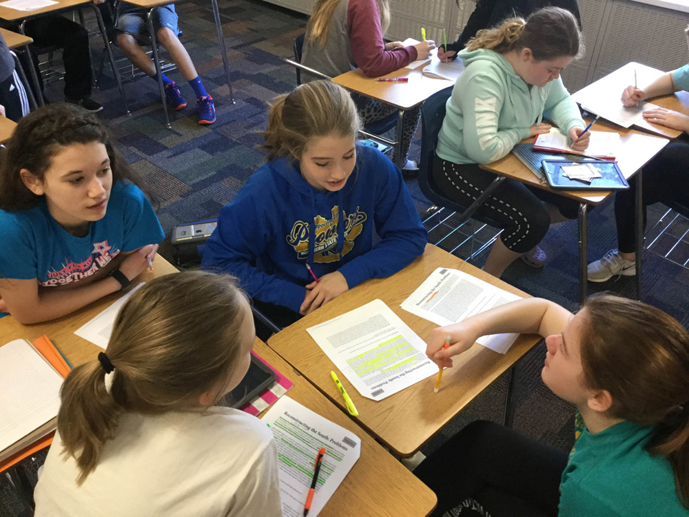 Joshua Watne's students discussing the lesson | Zinn Education Project: Teaching People's History
