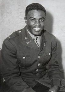Jackie Robinson in military uniform.