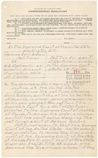Clarence Earl Gideon's Petition