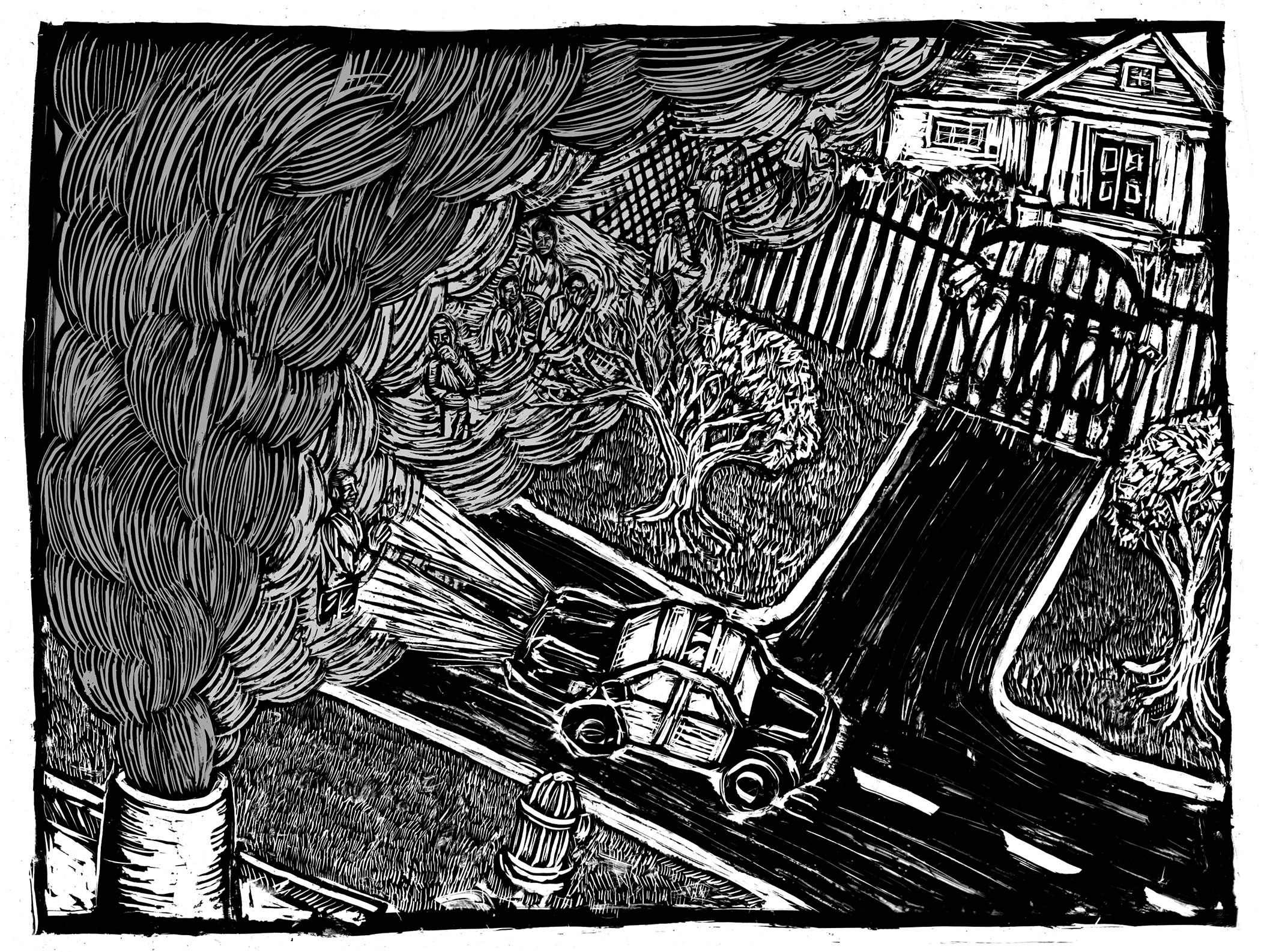 Scacrifice Zones - Woodcut by Eric Ruin | Zinn Educaiton Project