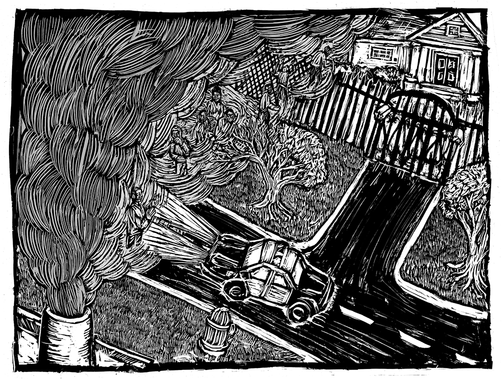 Street scene woodcut | Zinn Education Project