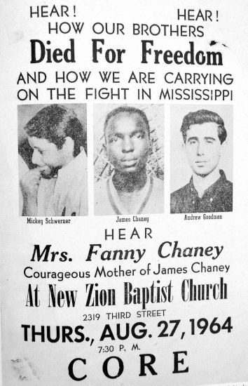 Poster about murder of Goodman, Chaney, and Schwerner.