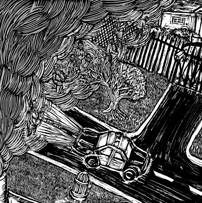 Woodcut Street Scene by Eric Ruin | Zinn Education Project