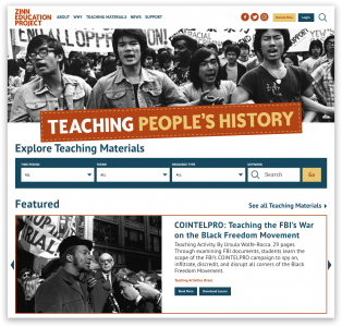 New Website Screenshot | Zinn Education Project