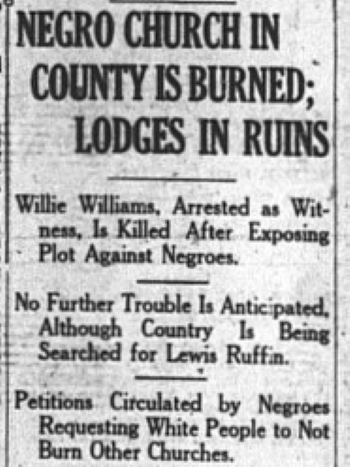 Negro Church in County is Burnded; Lodges in Ruins (News Clipping) | Zinn Education Project