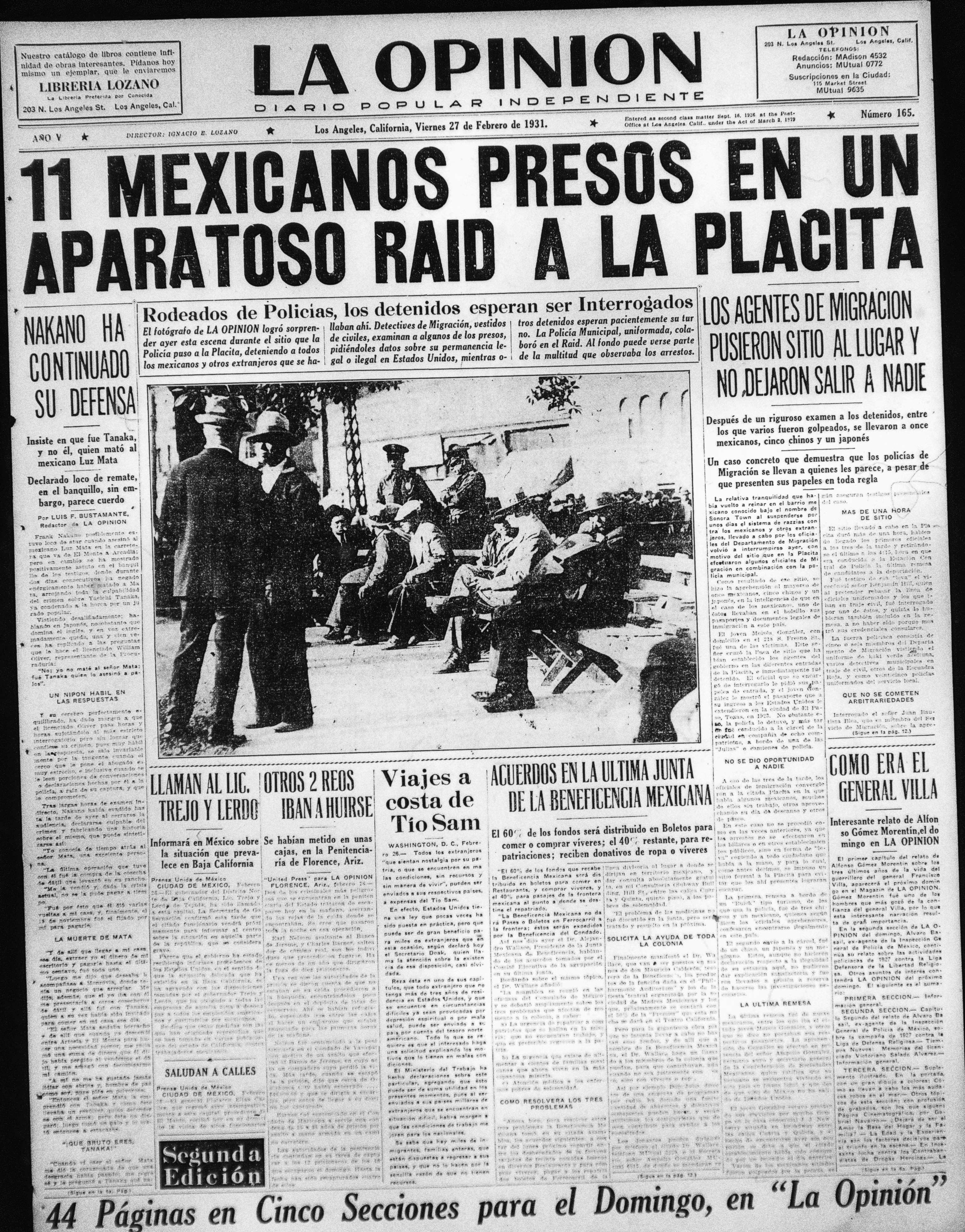 Newspaper 11 Mexicanos Presos En Un Aparatoso Raid a La Placita | Zinn Education Project