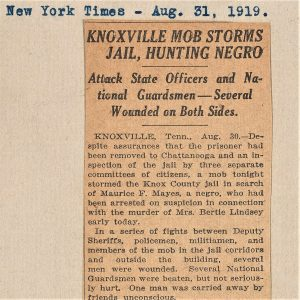 Newspaper clipping about Knoxville Race Riot 1919