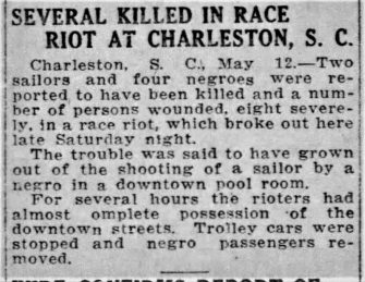 News article clipping from Charleston 1919 Riot