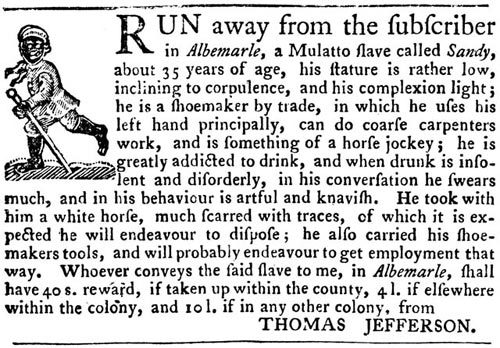 Thomas Jefferson Advertisement Runaway Slave | Zinn Education Project