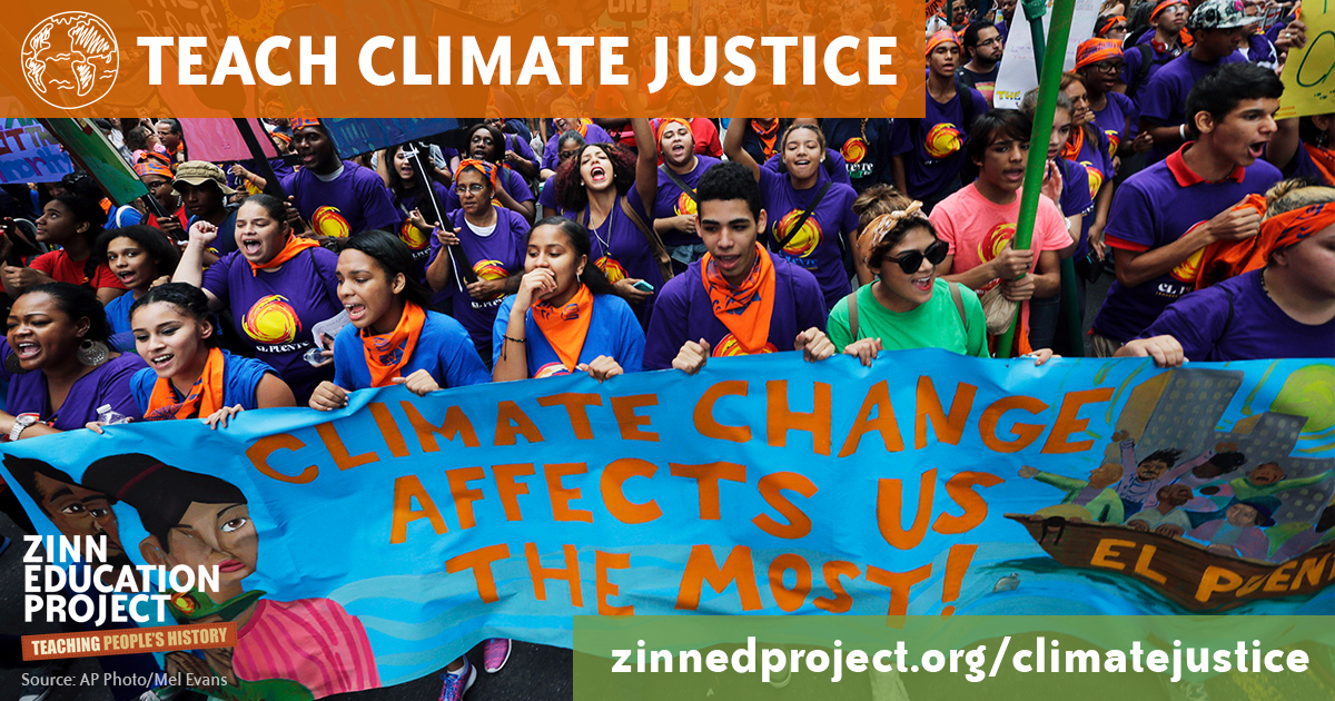 Teach Climate Justice Banner (Wide) | Zinn Education Project