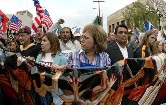 Immigration rights demonstrators march Monday, April 10, 2006, through downtown Los Angeles. (Source: Alamy Stock Photo/Zuma Press, Inc)