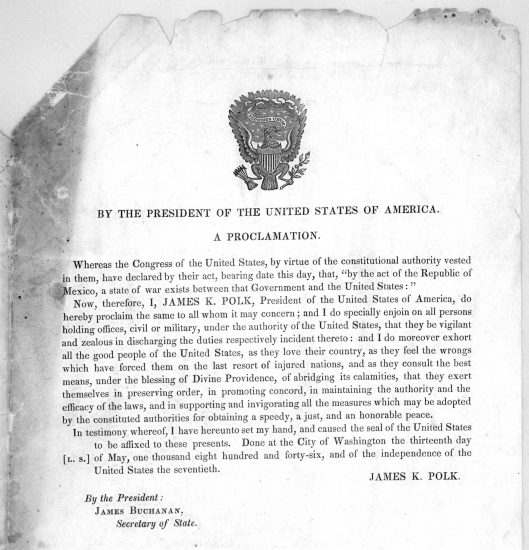 A proclamation by President Polk at the outset of the Mexican-American War.