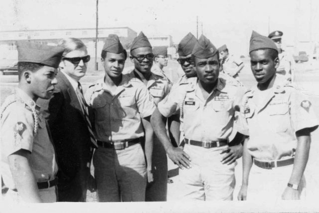black and white photo of African American soldiers