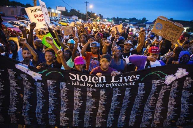 Stolen Lives sign at protest of police brutality.