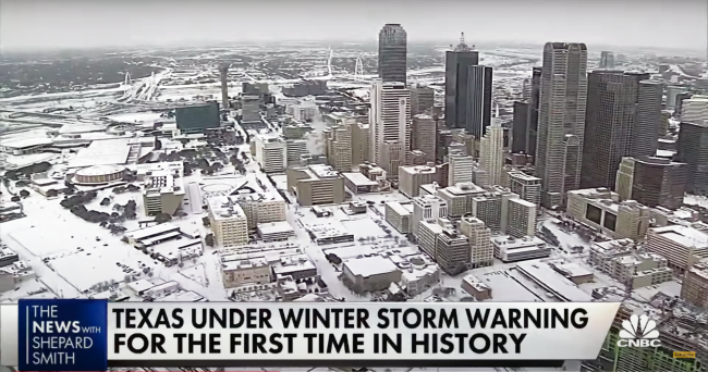 Skyline of Dallas, Texas, in February of 2021. The still is from a CNBC broadcast.